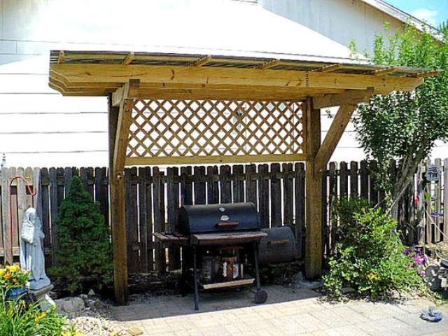 wooden grill pergola