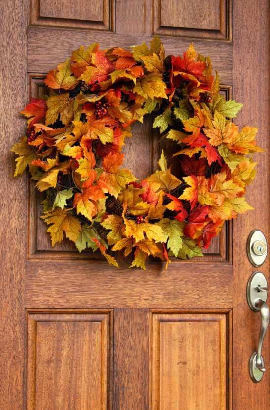 fall leaf and pinecone wreath