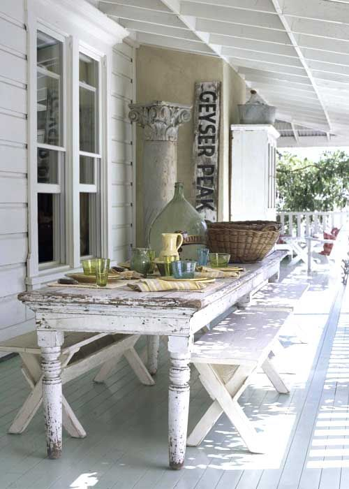 shabby chic dining area on the porch