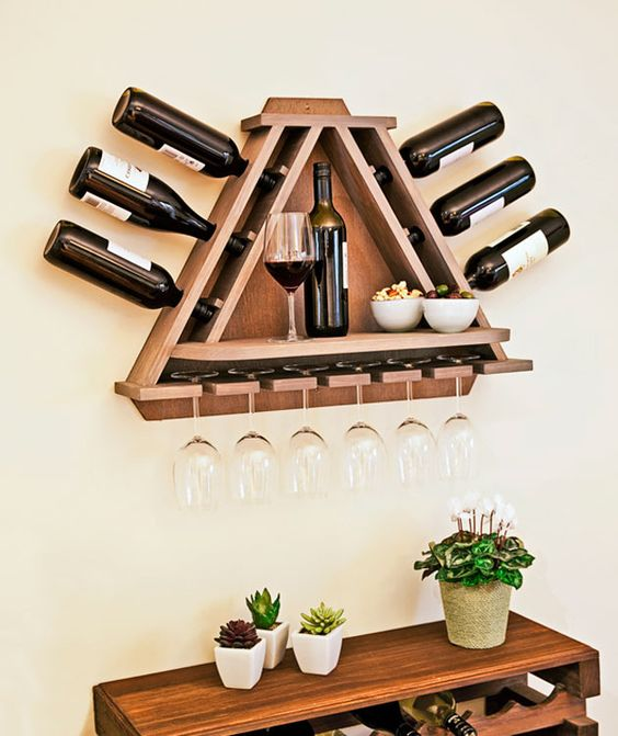 triangular wine shelf with a top for appetizers