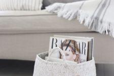 10 white woven basket for storing magazines