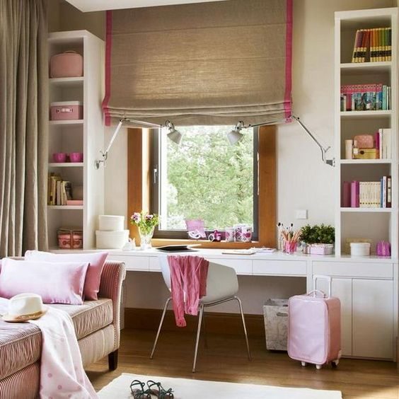 comfy built-in desk by the window with drawers