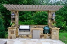 11 pergola cover for a Weber grill and a Green Egg