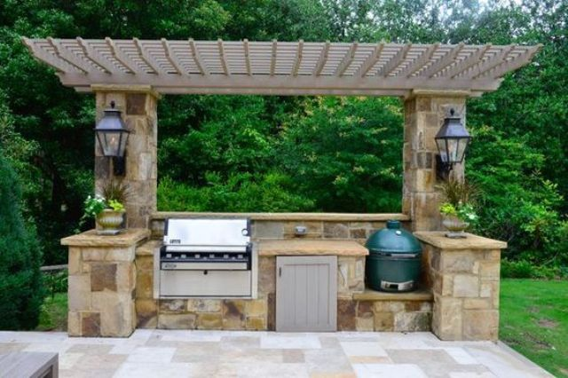pergola cover for a Weber grill and a Green Egg
