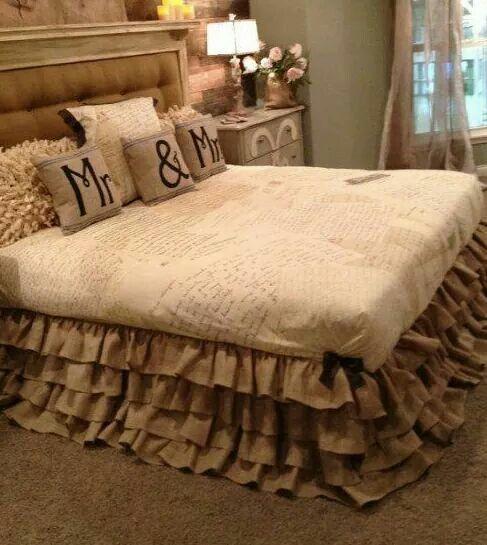 ruffled bed skirt of burlap