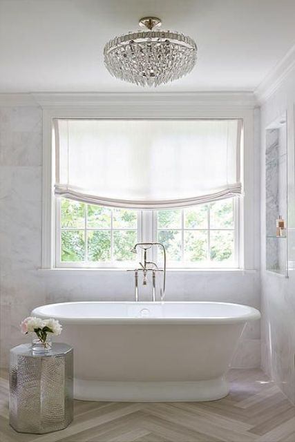3 bathroom window treatment types and 23 ideas shelterness for What type of blinds for bathroom