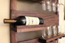 11 wall shelf for bottles and wine glasses