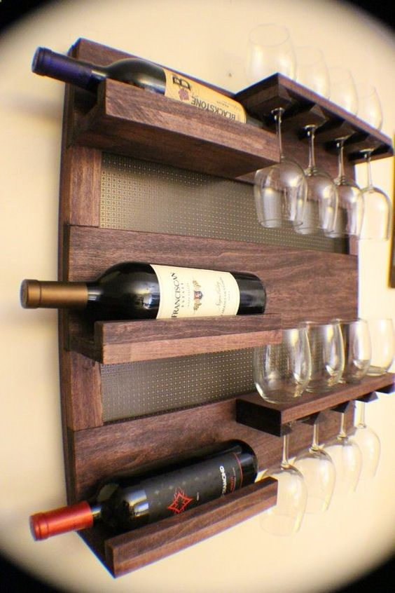 wall shelf for bottles and wine glasses