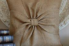 12 burlap bow pillow