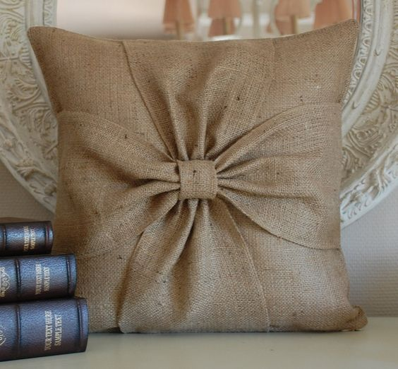 burlap bow pillow