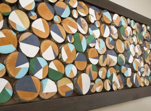 custom wall art with geo painted wood slices