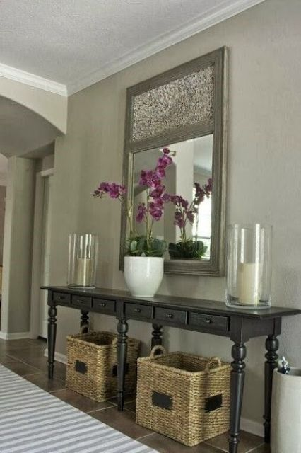 square baskets for hallway storage