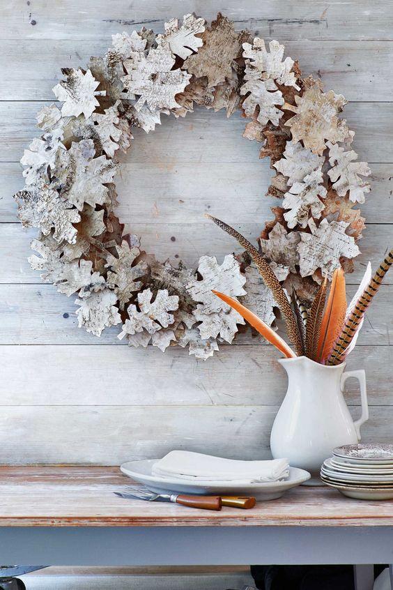 unique birch bark leaf wreath