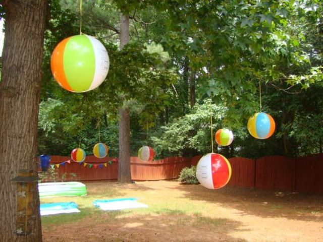 beach balls hung as decorations