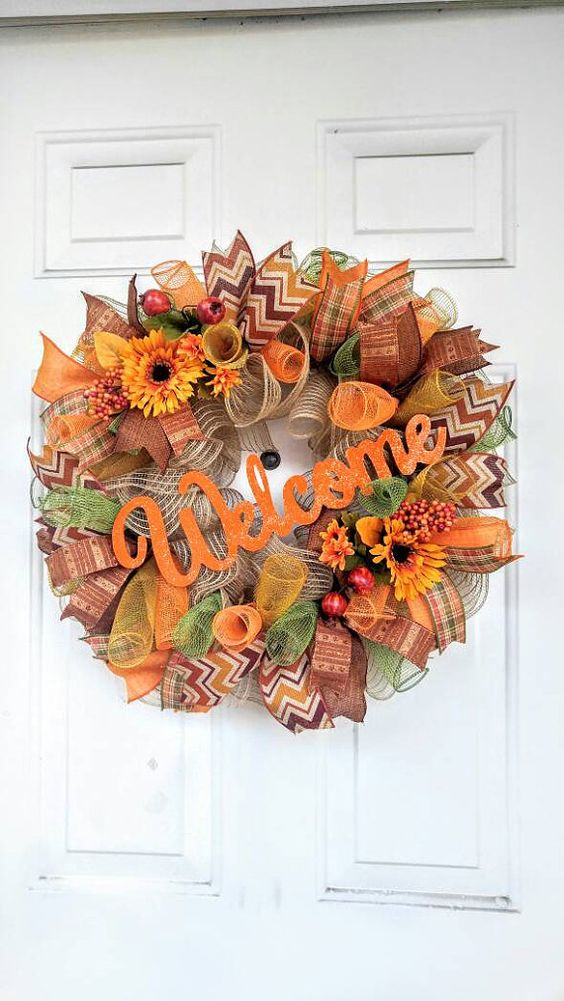 bold deco mesh fall wreath with silk flowers