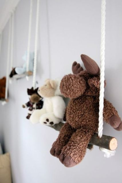 branch swing shelves for displaying toys