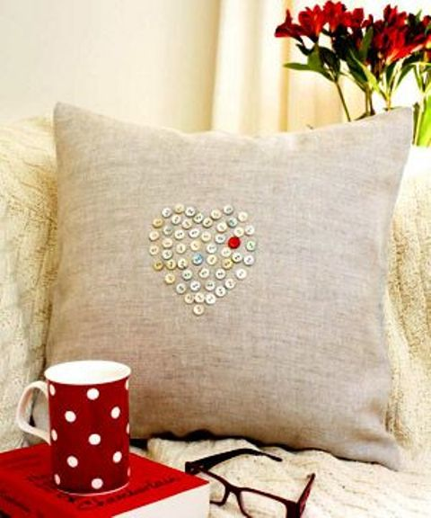 burlap pillow case with a button heart