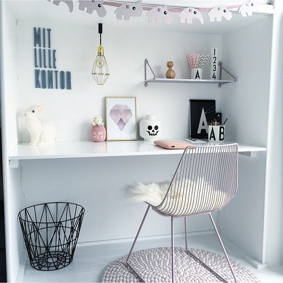 cute study space with a Scandinavian flavor
