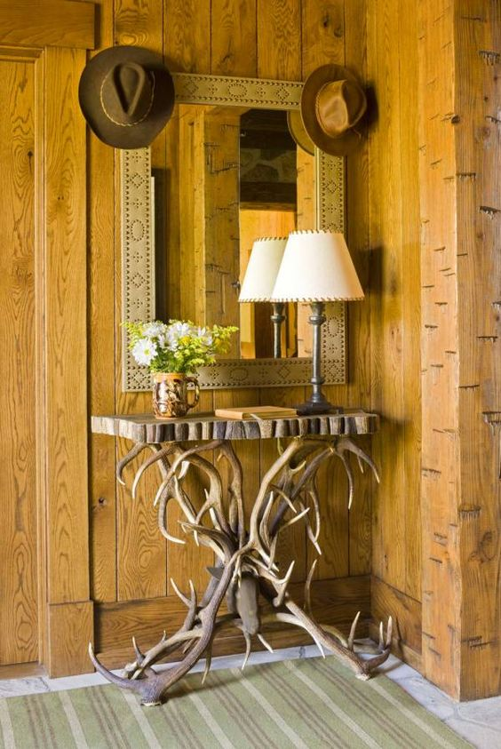 Stunning antler console table legs for a cabin entryway
