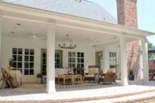 14 back porch with pillars with an outdoor living room