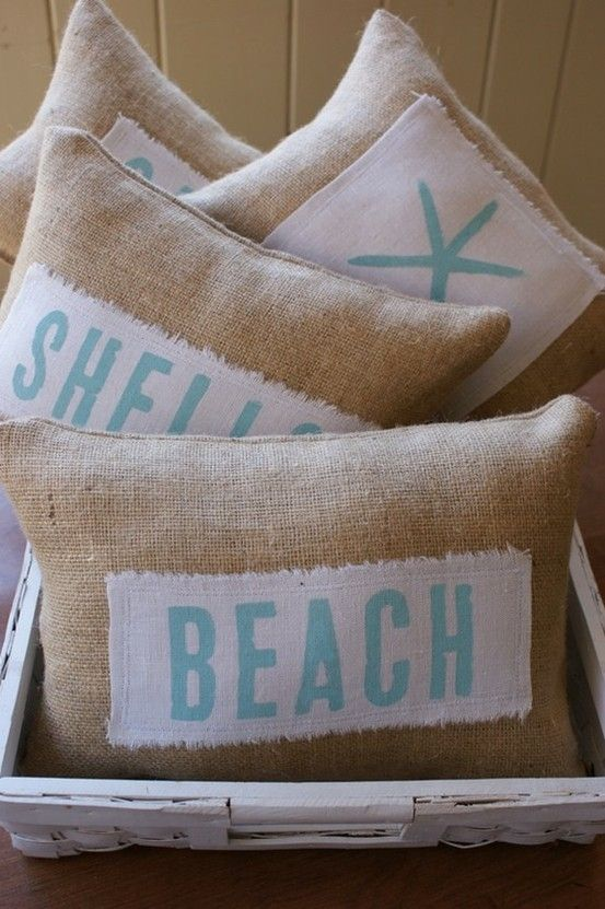 burlap pillows inspired by the sea