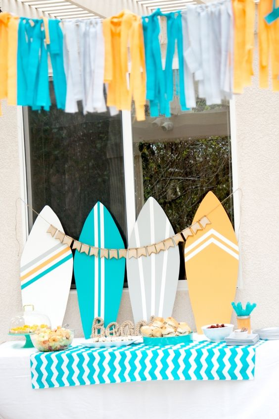 cardboard surf boards for decorating tables and stations