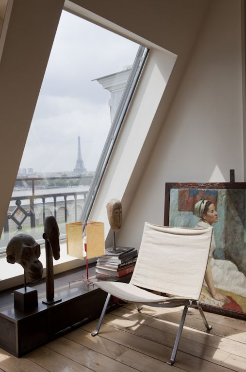 cozy attic window nook with a view