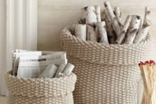 14 knit cotton baskets for firewood storage