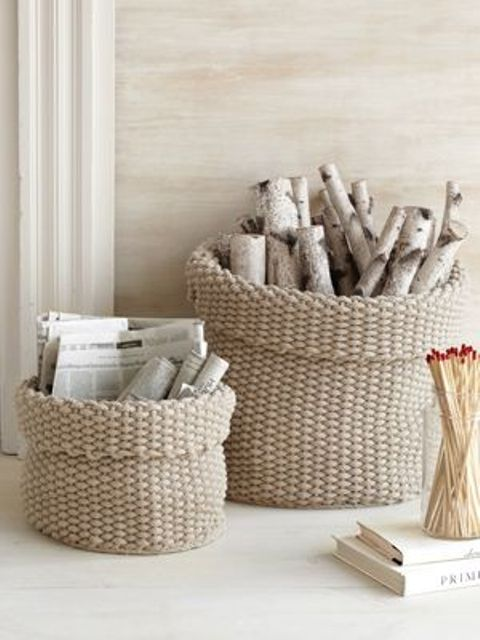 knit cotton baskets for firewood storage