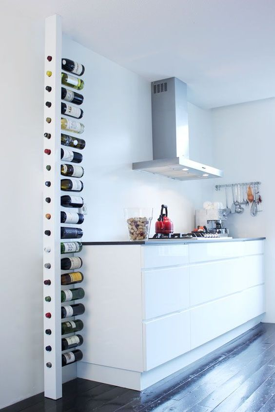 minimalist vertical bottle holder is suitable even for a tiny kitchen