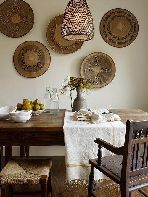 African baskets on the wall of a dining room