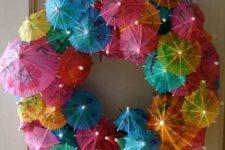 15 cocktail umbrella wreath