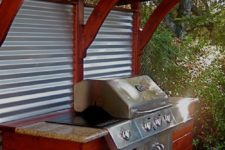 15 corrugated steel and redwood grill station