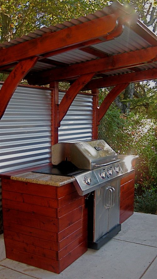 corrugated steel and redwood grill station
