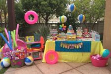 15 dessert table decorated with pool stuff