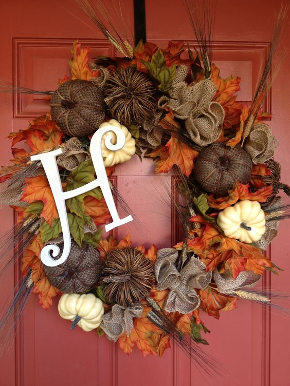 fall wreath with burlap pumpkins, natural gourds and wheat