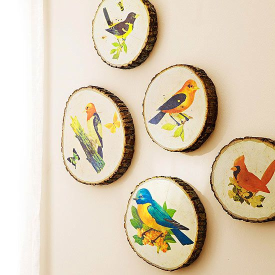painted birds wall art gallery