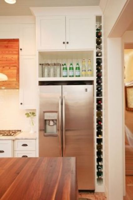 side wine bottle shelf is ideal for small kitchens
