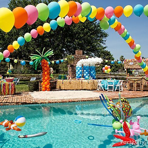 colorful balloon and mermaid-themed pool floats