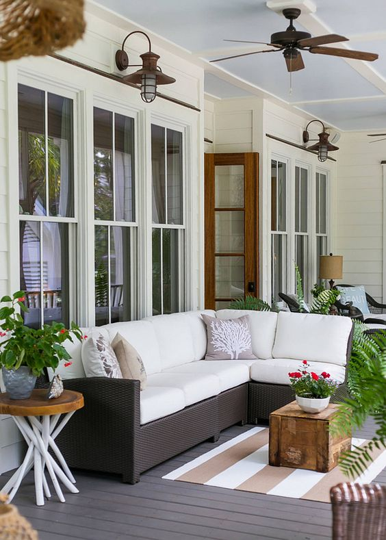 cozy modern back porch as an outdoor lounge