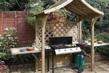 16 grill BBQ wooden arbour