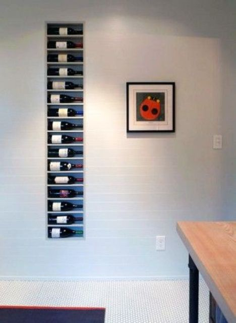 in-wall wine storage for small spaces