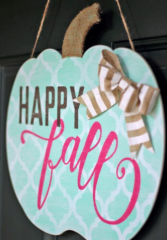 shabby chic pumpkin-shaped fall sign