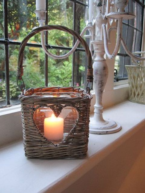basket turned into a candle holder