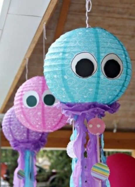 colorful jellyfish lanterns of usual paper ones