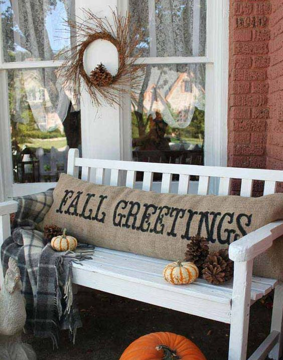 long stamped outdoor pillow for the fall