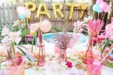 17 pastel pool party table decor