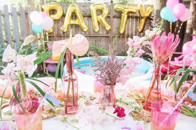 pastel pool party table decor
