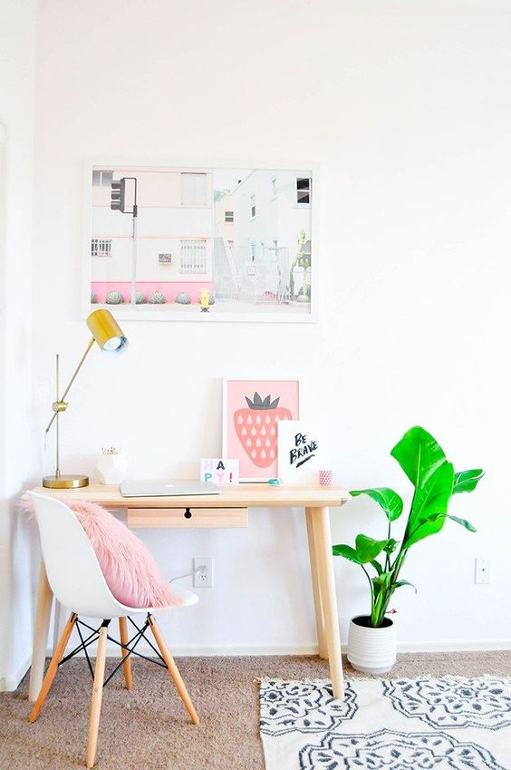 pastel uncluttered girl's space with blush and pink