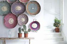 baskets as wall decor